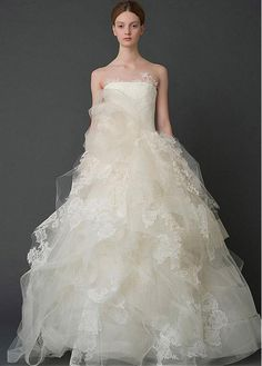 Fabulous Tulle & Satin Strapless Neckline Ball Gown Wedding Dresses With Lace Appliques