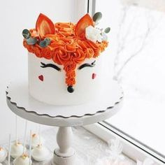 Girly fox cake - add flowers. Woodland themed baby shower or birthday party