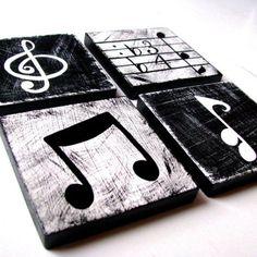 Music Inspired Black and White Wall Art Tiles Set of 4