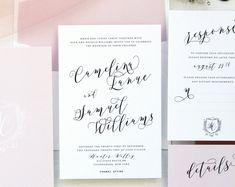 Camelina Soft Pink Wedding Invitation Sets, Monogram Invitation, Chic Wedding, Elegant Wedding, Silk Ribbon Belly Band, Crest Invitations