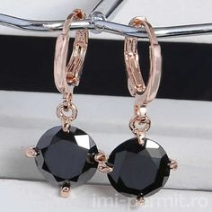 Atreus New Arrival Colorful Round Style Gold Color CZ Enchanting Zircon 9 Colors Dangle Earrings For Women Wholesale Shape Patterns, Types Of Metal, Women's Earrings, Dangles, Crystals, Stone, Model, Orange Red, Tracking Number