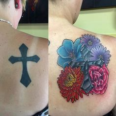 Kaelins before and after shot. Fixed up the black cross and added the flowers yesterday. Thanks for looking. #awesomesauce #satlikeachamp #fix #up #tattoo #redo #coveruptattoo #cover #change #transform #tattooedgirls #tattoosforwomen #inkedgirls #inked #inkdup96 #justinhauck #authenticarts