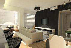 Sala de TV integrada à cozinha e sala de jantar.