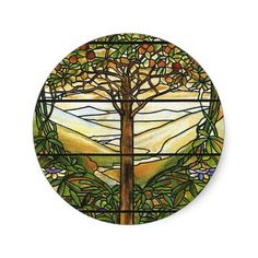 images of stained glass | Tree of Life/Tiffany Stained Glass Window Round Sticker
