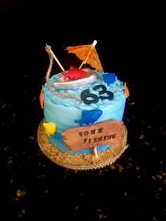Gone Fishing themed Happy Birthday Cake