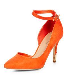 Escarpins orange vif pointus à bride cheville