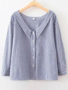 Blusa a rayas verticales con escote V - azul-Spanish SheIn(Sheinside)