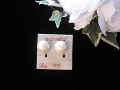 Marvella Pearl Button Earrings @ Vintage Touch $7.50