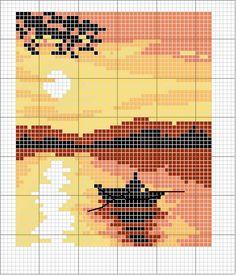 Schema punto croce Tramonto                                                                                                                                                     More