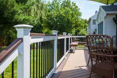 #outdoorliving #railing #outdoorlivinginspiration #railinginspo #DIY #vinylrailing   #FinylLine Outdoor Stair Railing, Deck Railings, Vinyl Railing, Outdoor Living, Outdoor Decor, Diys, Patio, Building, Home