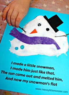 An easy melted snowman kids craft and (free) printable poem using a simple puffy paint recipe that uses shaving foam and glue. A fun snow or winter art or literacy project for toddlers and preschoolers as well as older kids.