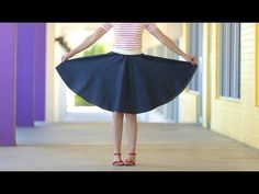 How to make a Circle Skirt - for any age + any size - how to draw the pattern and sew with a wide elastic seam YouTube