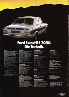 Ford Escort Rs 2000, Escort Mk1, Vintage Tags, Cars And Motorcycles, Classic Cars, Marquis, Trucks, Mexico, German