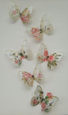 6 Shabby Chic Pink Rose & Hummingbird 3D Butterflies Bedroom Mirror Furniture
