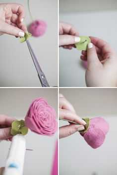 How to make felt ranunculus flowers Felt Flower Bouquet, Felt Flowers, Fabric Flowers, Ranunculus Flowers, Paper Flowers Diy, Handmade Flowers, Felt Decorations, Flower Crafts, Felt Diy