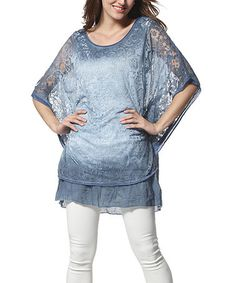 Another great find on #zulily! Blue Damask Lace Cape-Sleeve Tunic #zulilyfinds