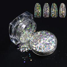 1 Bouteille 3g Laser Mixte Hexagone Glitter Nail Art Dust Outil Outils Ongles en acrylique 3D Nail Art Décorations Ongles Glitter Poudre T01 04 dans Strass et décorations de Santé & Beauté sur AliExpress.com | Alibaba Group