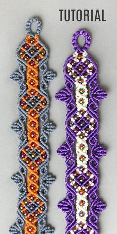 Diy Crafts - bracelettutorial,jewelrymaking-Gothic Inspired Macrame Bracelet Tutorial macramebracelet bracelettutorial jewelrymaking diyjewelry m Macrame Bracelet Patterns, Macrame Bracelet Tutorial, Macrame Patterns, Macrame Jewelry, Macrame Bracelets, Beading Patterns, Loom Bracelets, Macrame Bag, Armband Tutorial
