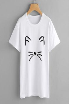 2a46d159 Women Fashion Casual Short Sleeve O-Neck Cat Printed Causal Blouse Tops T- Shirt
