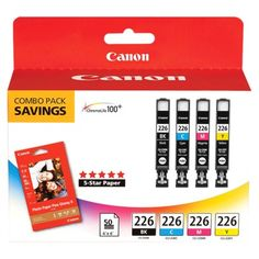 Canon 226 Black, C/M/Y Combo Ink Cartridges with Photo Paper - Black, Cyan, Magenta, Yellow Black/Blue/Pink/Yellow Canon Ink, Printer Ink Cartridges, Ink Toner, Office And School Supplies, List, Computer Accessories, Magenta, Pink Yellow, Color Combos