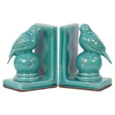 Perched Bird Bookend in Blue (Set of 2)