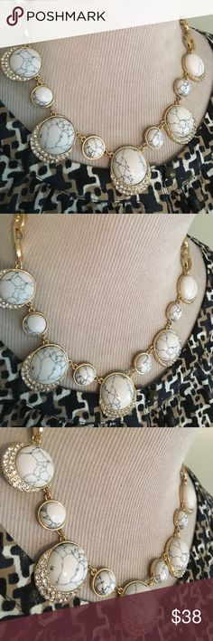TALBOTS ELEGANT NECKLACE Gorgeous fancy necklace, brand new , beautiful black and white half stones decorated with faux diamonds Talbots Jewelry Necklaces