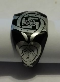 1920's George F. Rider Good Luck Ring With Clover Swastika Horseshoes Size 4  #GeorgeFRider