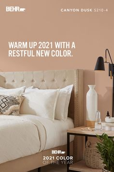 Some days you just want to cozy up with a good book, a cup of coffee, and your favorite blanket. Every day, BEHR® Paint wants to make those days even more comfortable. Introducing BEHR® 2021 Color of the Year Canyon Dusk S210-4, a deep, earthy terracotta hue chosen to help you make every room - including your bedroom - even more relaxing. Click to see more.