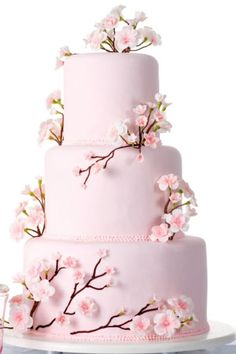 Pink Cherry Blossom Design Wedding Cake Keeps It Simple And Yet