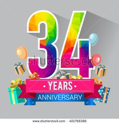 34 Years Anniversary celebration logo, 34th Anniversary celebration, with gift box and balloons, colorful polygonal design. - stock vector