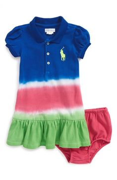 Ralph Lauren Dip Dye Cotton Mesh Polo Dress & Bloomers (Baby Girls) available at #Nordstrom