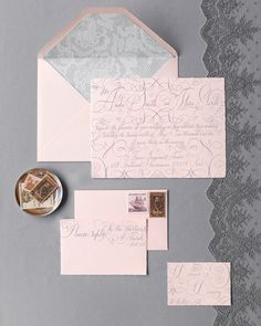 Set against a whispering shade of gray, pink is soft and delicate. Like the perfect wedding, the charming combination is warm and fuzzy -- and yet totally chic.Enhance the nostalgic feel with lace motifs, sweeping calligraphy, and antique-looking nautical and Shakespearean stamps. Paper, by Arturo Fine Stationery, from Legion Paper. Calligraphy, by Bernard Maisner Calligraphy & Fine Stationery.