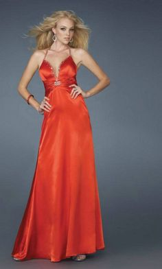 Low V Neck Satin Halter Criss Cross Back Cut Out Back Sexy Red Prom Dress