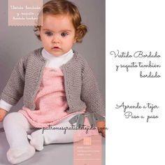 Bebé / Hermoso conjunto vestido y saquito bordados - paso a paso   Crochet y Dos agujas Knitting For Kids, Baby Knitting Patterns, Free Knitting, Winter Is Comming, Crochet Baby, Knit Crochet, Vestidos Bebe Crochet, Knit Dress, Embroidery
