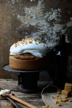 Maple Pecan Cake with Maple Whipped Cream Frosting