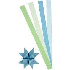 Papieren stroken blauw/groen 100 stuks. Dubbelzijdig bedrukte papieren vlechtstroken voor bijvoorbeeld het maken van sterren. Inclusief instructie voor het maken van een ster. Pak met 4 kleuren in de tinten groen en blauw, van elk 25 stuks. Afmeting ongeveer 15 mm x 45 cm.