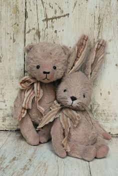 Artist Bear handmade Bunny Fushia by bearwithmee on Etsy
