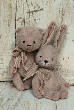 Artist Bear handmade Bunny Fushia by bearwithmee on Etsy