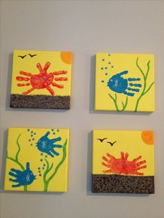 Handprint canvas art for the kids playroom! Make it match the color of your room… Handprint canvas art for the kids playroom! Make it match the color of your room! Kids Crafts, Daycare Crafts, Baby Crafts, Toddler Crafts, Beach Crafts For Kids, Summer Crafts For Toddlers, Painting For Kids, Art For Kids, Kids Canvas Art