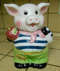 Pig with apple Cookie Jar very cute Piggie