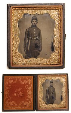Picture of the Week 16nov2012: About The Longest Bowie Knife you are likely to see, and in a yankee's belt  This tin-plate Civil War tintype shows a Union infantry private. Wearing his forage cap tilted slightly back to show clearly his entire face, he holds a bayonetted musket at his side, and tucked into a waist belt are a revolver to the viewer's right and a bowie knife on the left.  This wicked thing has a simple crossguard and handle, and has a clip-point blade that must be 16 inches…