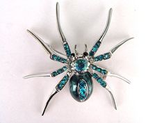 Aqua Blue Czech Crystal Rhinestone Spider Insect Fashion Jewelry Pin Brooch $7.99