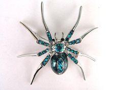 Aqua Blue Czech Crystal Rhinestone Spider Insect Fashion Jewelry Pin Brooch $7.99
