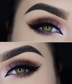 Perfect plum ombre smokey look with a winged liner. Start with a light color at the tear duct and increase more color as you work your way outwards. #wingedlinermakeup #smokeywingedliner