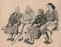 Old ladies gossiping on a bench  stamp  rubber stamp    pinkflamingo61-Etsy