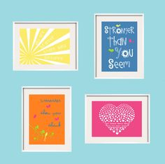 Winnie the Pooh Quote You Are Braver than You Believe Nursery Print Quote 5x7 4 prints set Eclectic Style Wall Art