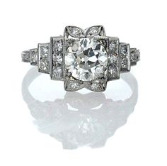 New York, NY Jewelry, engagement rings - Leigh Jay Nacht - Art Deco Engagement Ring - R353-02A