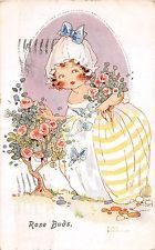 Agnes Richardson Cute OLD Postcard - 1928 - pretty girl & roses - 'Rose Buds'