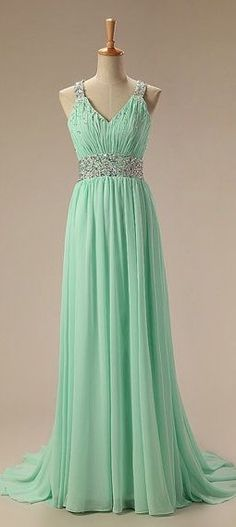 Mint Green Chiffon Floor Length V-neckline Cross Back Prom Gown with Beadings