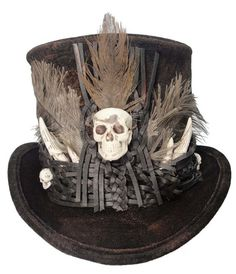 Witch Doctor Voodoo Tall Brown Top Hat Skull by JenkittysCloset